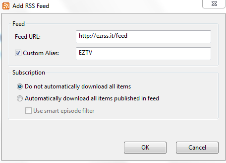 utorrent how to use rss feed